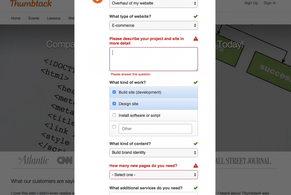 Form errors on the Thumbtack from.