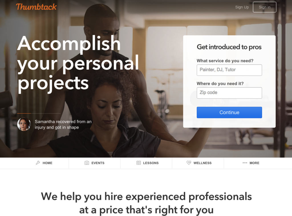Thumbtack.com home page example