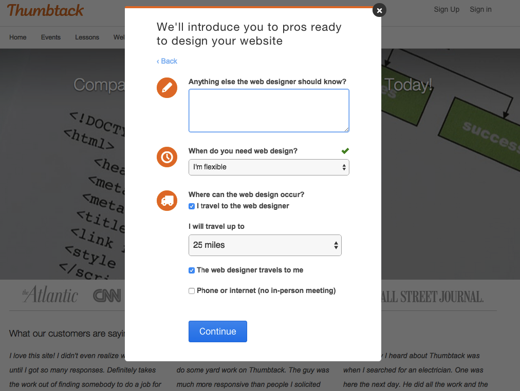 Step 3 of Thumbtack's form fill