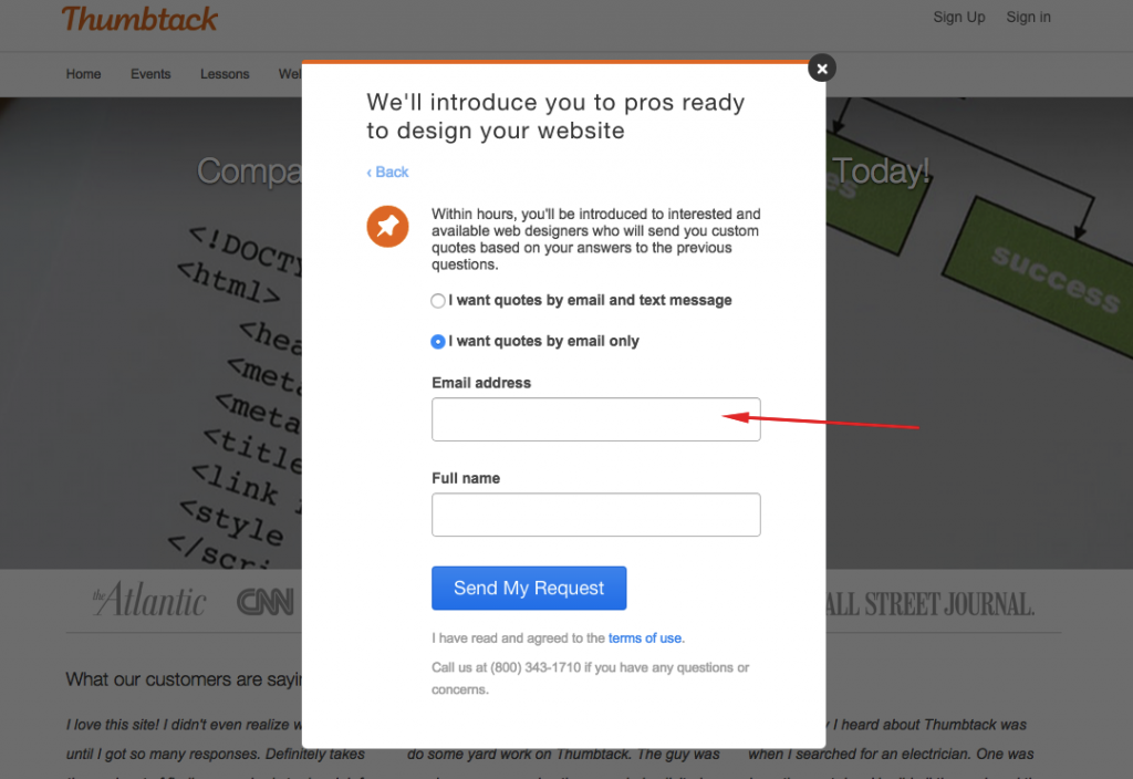 The personal info asked by Thumbtack.