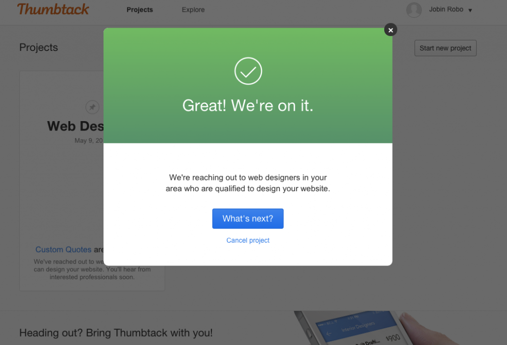 Thumbtack confirmation page.
