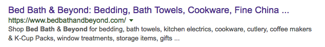 bed bath serp