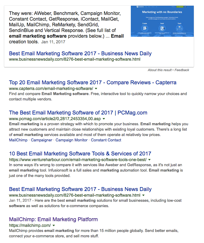 email marketing software serp