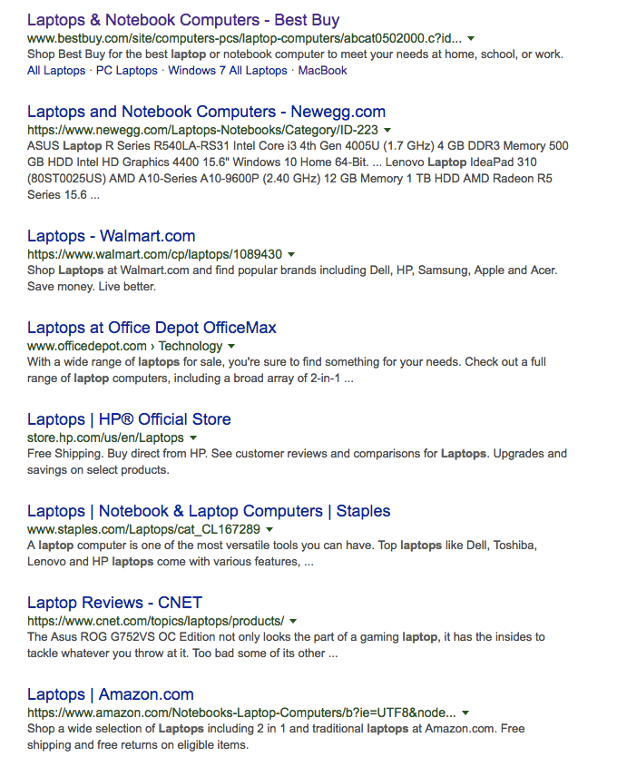 laptop keyword serp