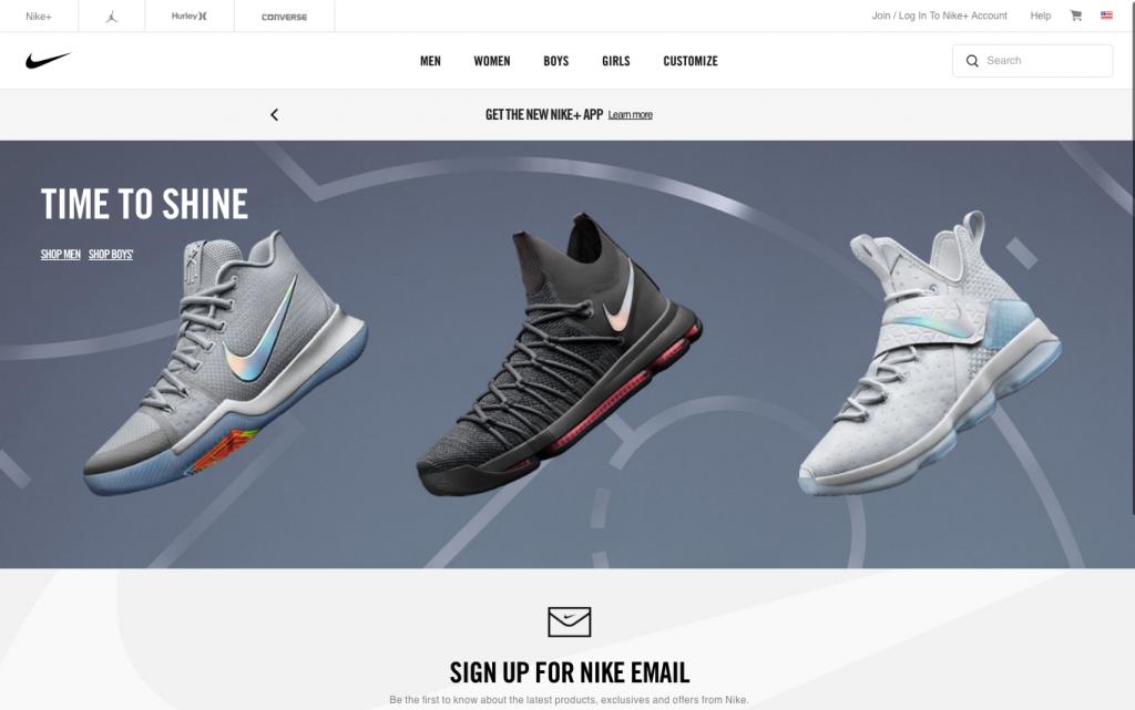 nike homepage image