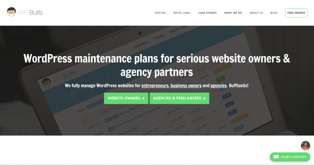 wp buffs homepage for review