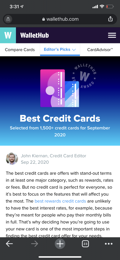 wallethub credit card search