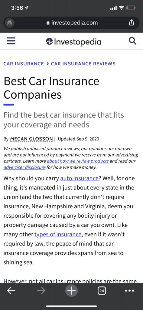 investopedia car insurance